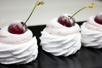 Cherry Meringue Nests