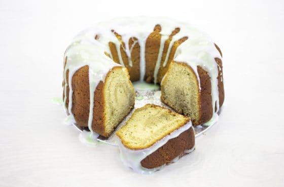 Vegan Matcha, Lemon and Poppy Seed Bundt Cake