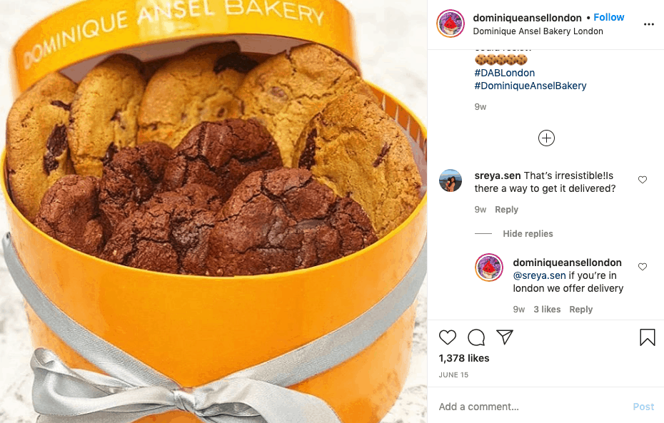 dominique ansel bakery - cookie hamper post instagram