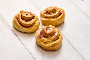 Raspberry & White Chocolate Pinwheel Scones